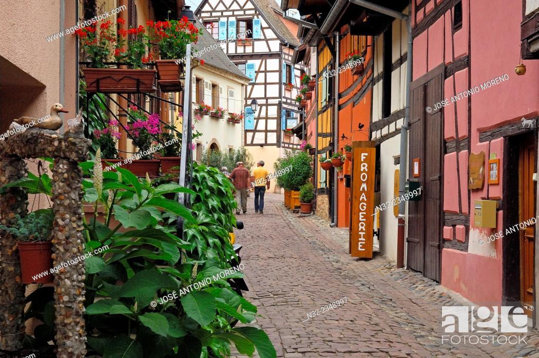 Stock Photo: Eguisheim, Alsace Wine Route, Haut-Rhin, Alsace, France, Europe.