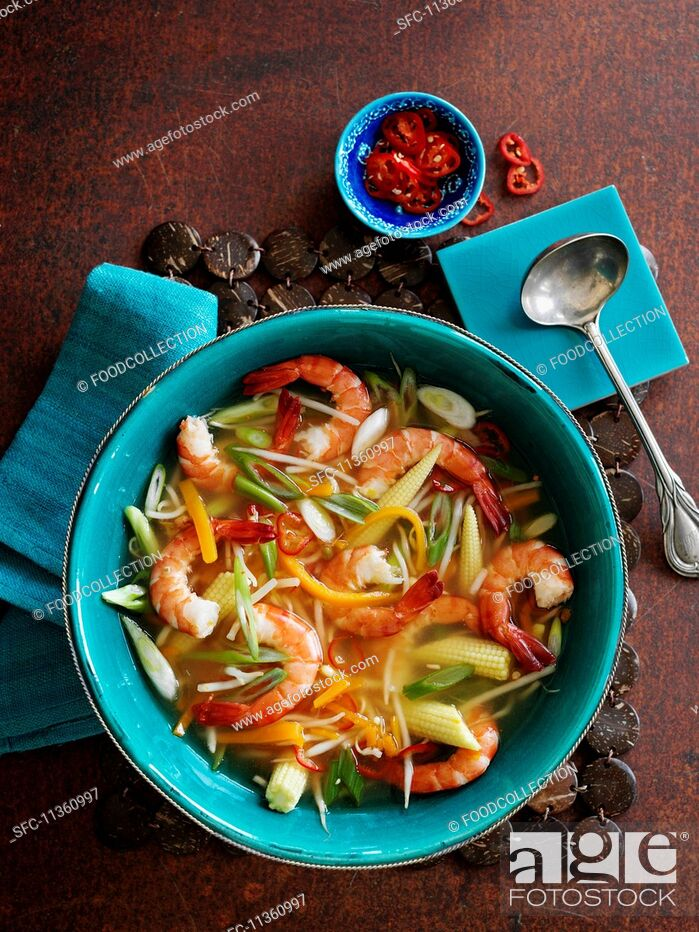 Stock Photo: Spicy vegetable soup with prawns (Asia).