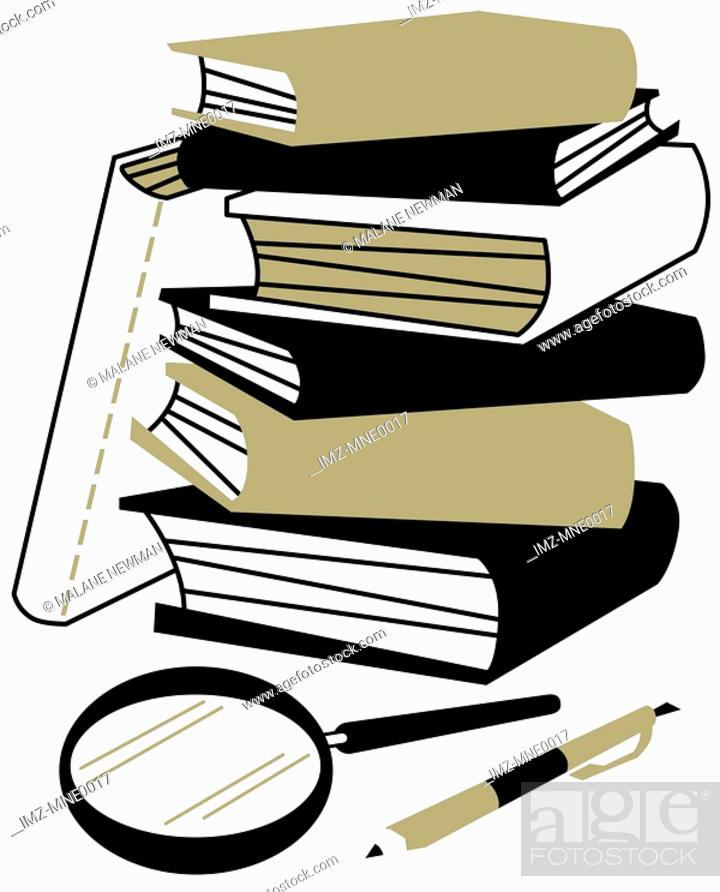 Stock Photo: A stock of books, a magnifying glass and a pen.