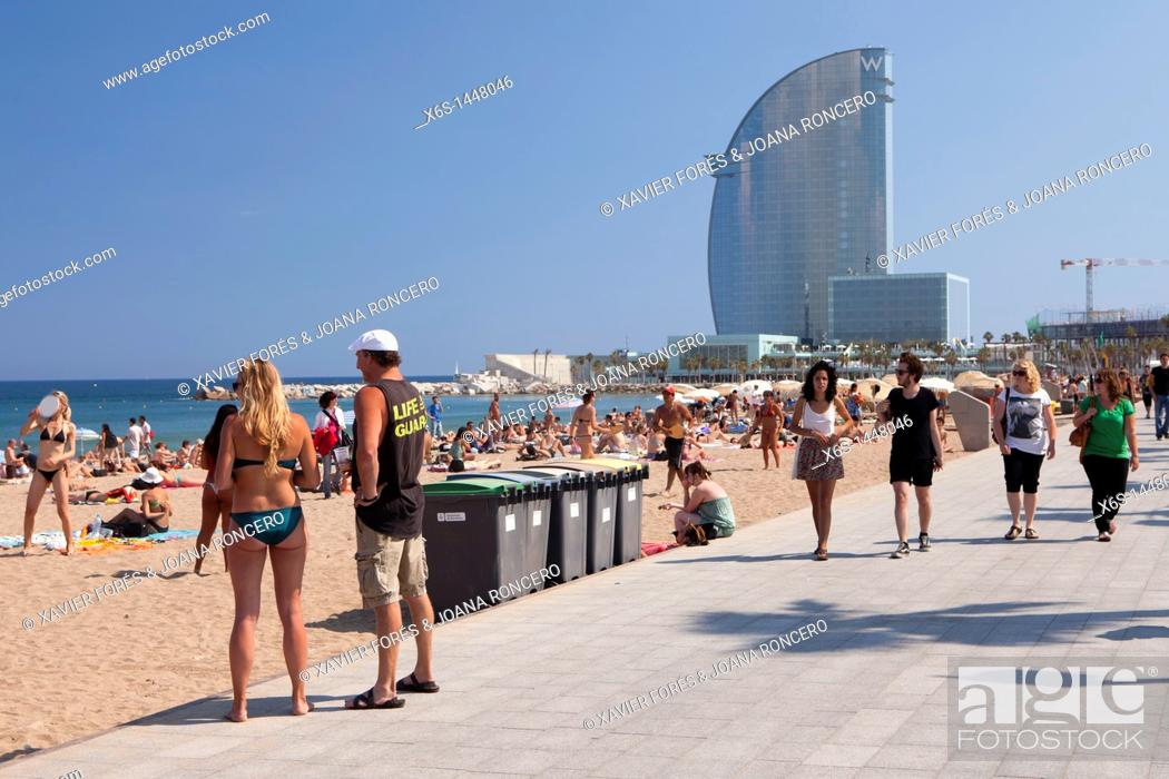 Stock Photo: Hotel W also known as Hotel Vela, Barcelona, Spain.
