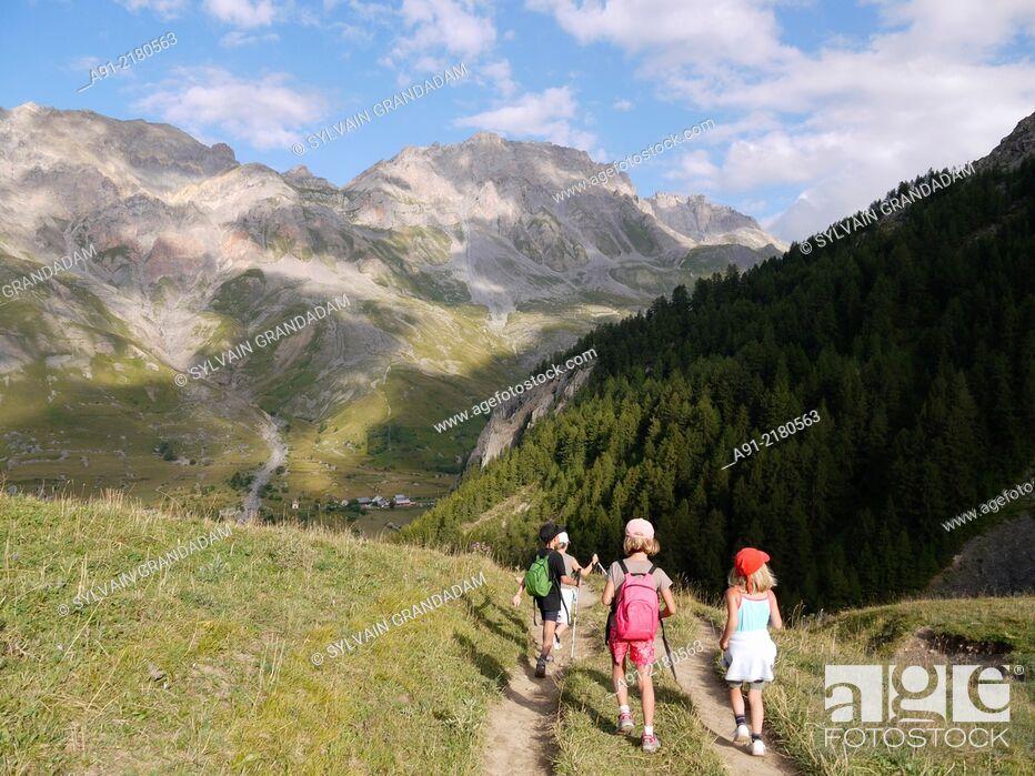 Stock Photo: France, Savoie, Valloire neighbourhood , hiking around Cerces Lake.