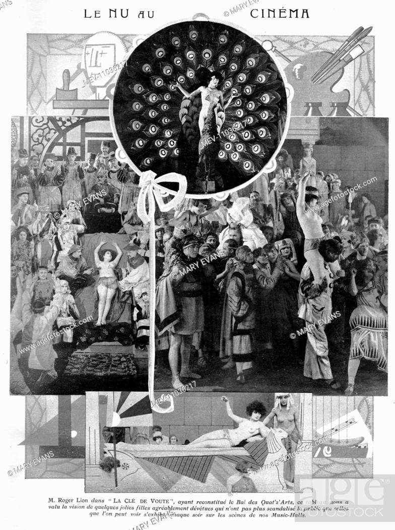 Stock Photo: Scenes from the French film La Cle de Voute, 1925 directed by Roger Lion starring Gina Palerme (probably featured in these shots).