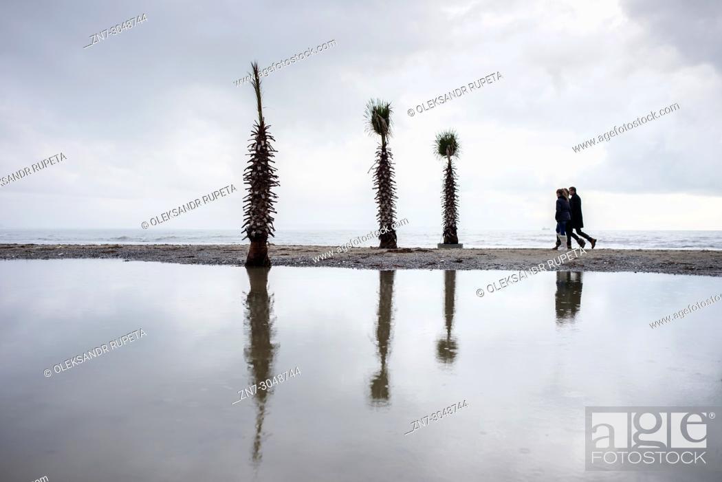 Stock Photo: Seafront promenade, Durres, Albania.