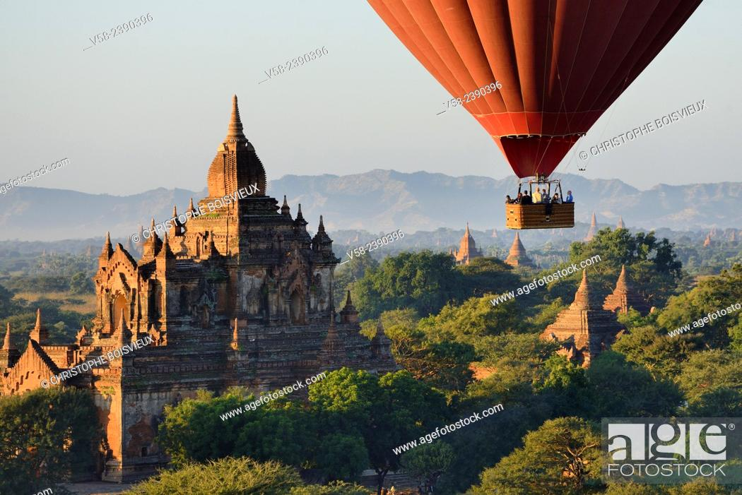 Stock Photo: Myanmar, Bagan from above.