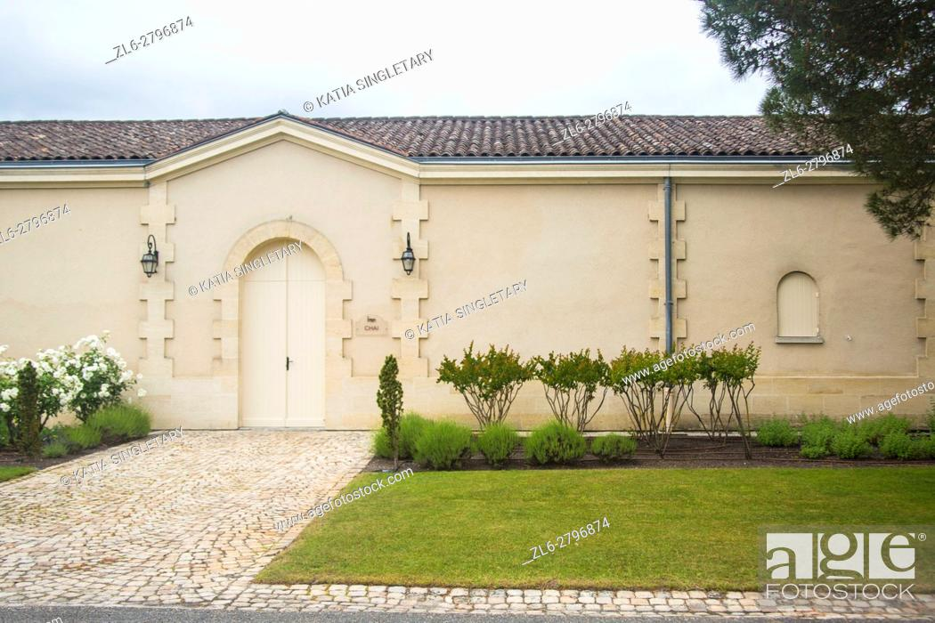 Stock Photo: View of the gates from the back entrance closed of the Château Pichon Longueville Baron in the wine region of Medoc in France.