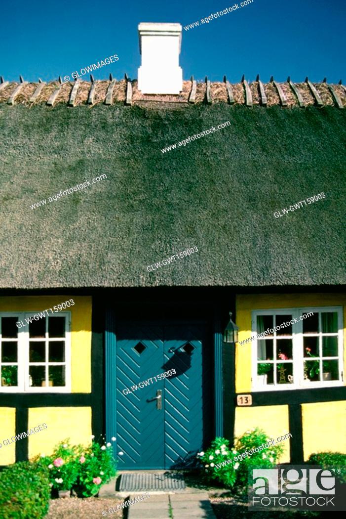 Stock Photo: Facade of a cottage, Funen County, Denmark.