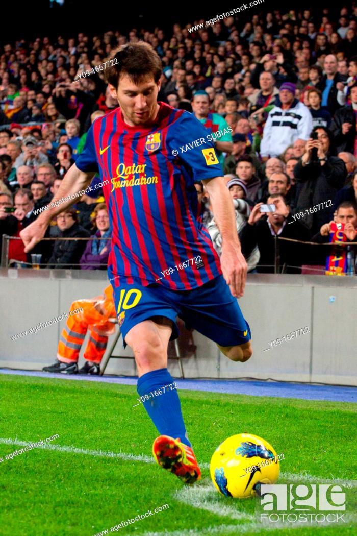 Stock Photo: FC Barcelona - Zaragoza, Lionel Messi, Camp Nou, Barcelona, Spain.