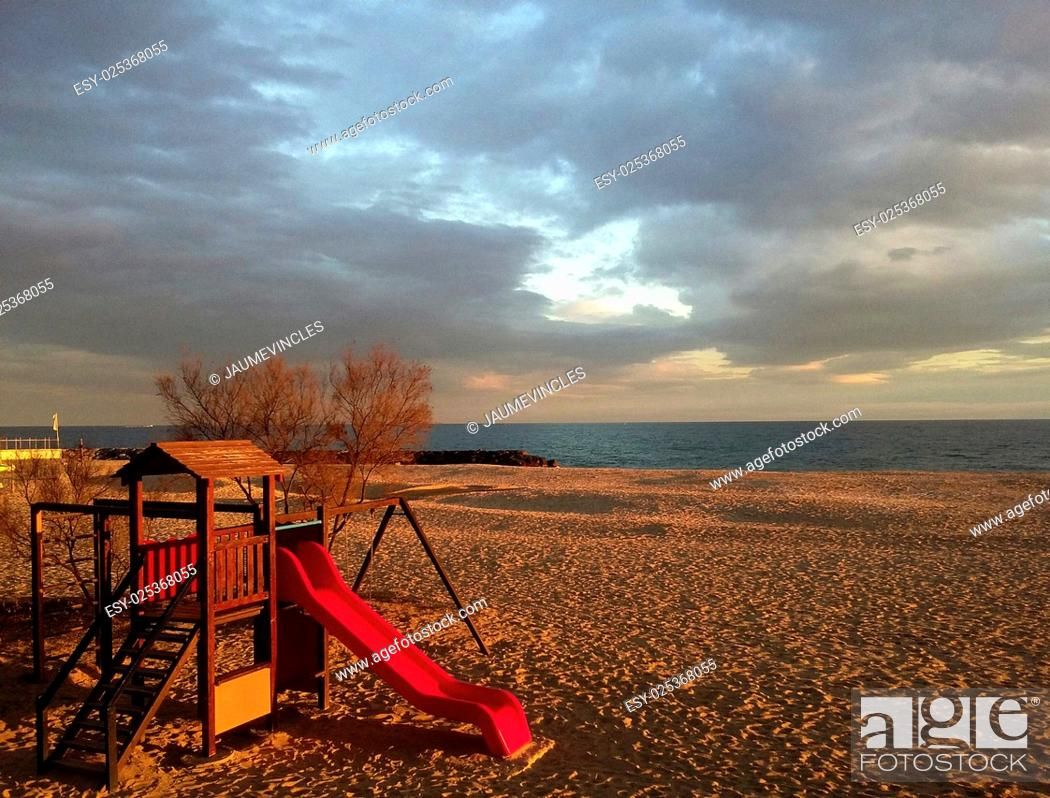 Stock Photo: Playground on the Beach, Caldes d'Estrac, Maresme, Barcelona province, Catalonia, Spain.