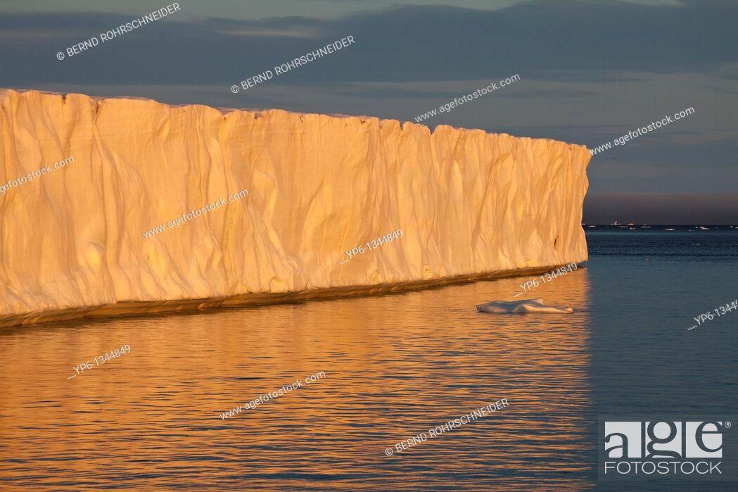 Stock Photo: glacier Brasvellbreen and ice floes in sunset light, Nordaustlandet, Svalbard.