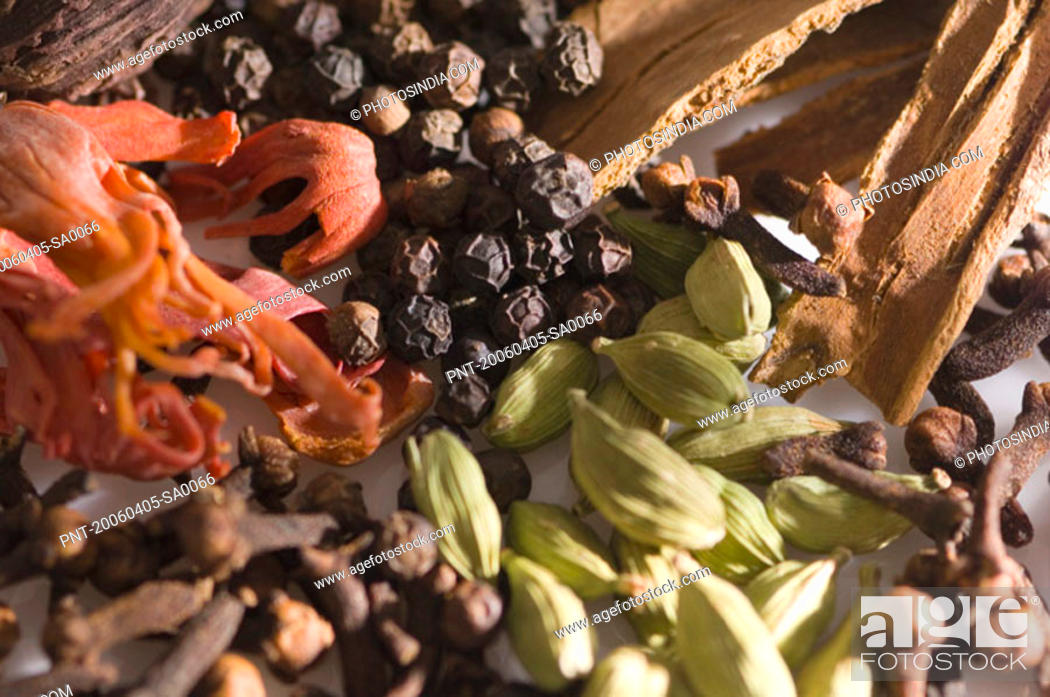 Stock Photo: High angle view of spices.
