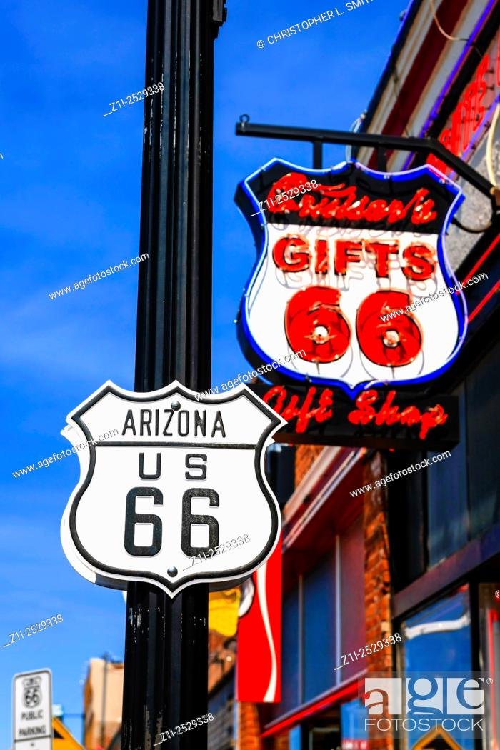Stock Photo: Cruisers 66 Gift shop neon sign on historic Route 66 in Willams Arizona, the last Route 66 city to be bi-passed by I-40.