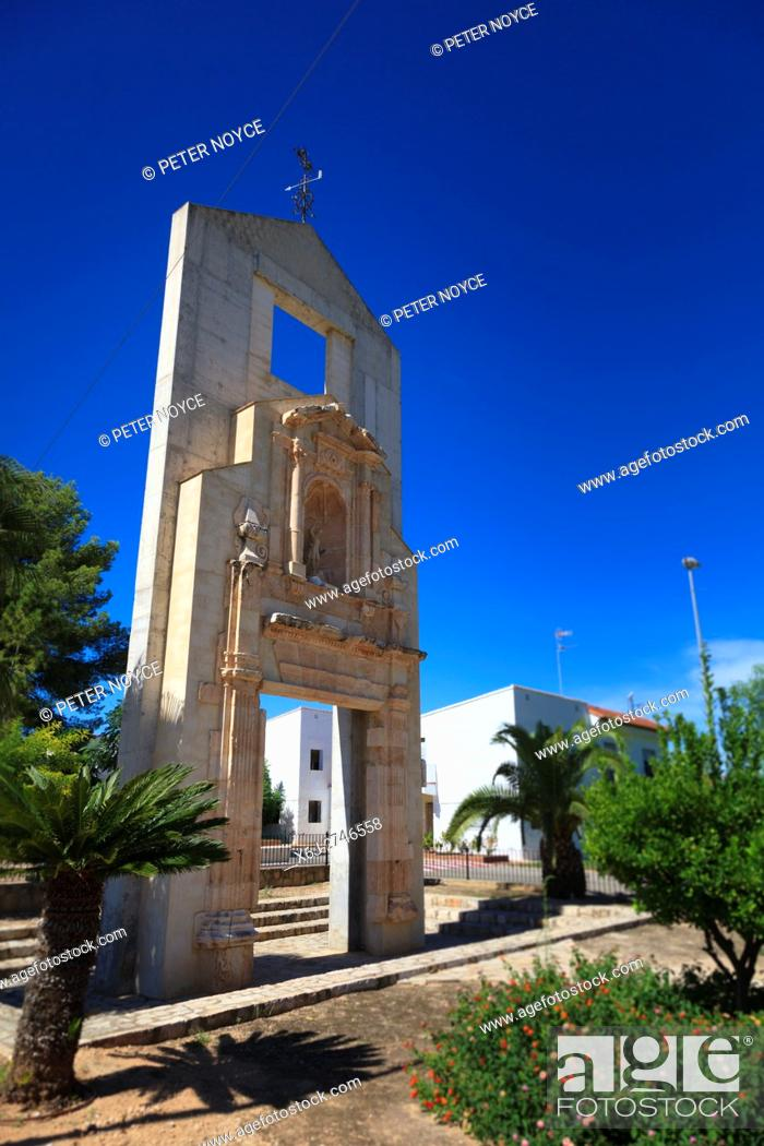 Stock Photo: The monument to the original church in the newly created village of Tous in Valencia Community Spain.