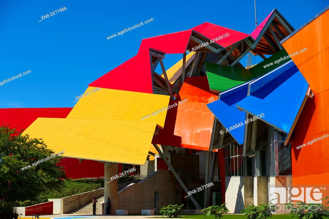 Stock Photo: Biodiversity Museum by Frank O. Gehry, Panama City, Republic of Panama, Central America.