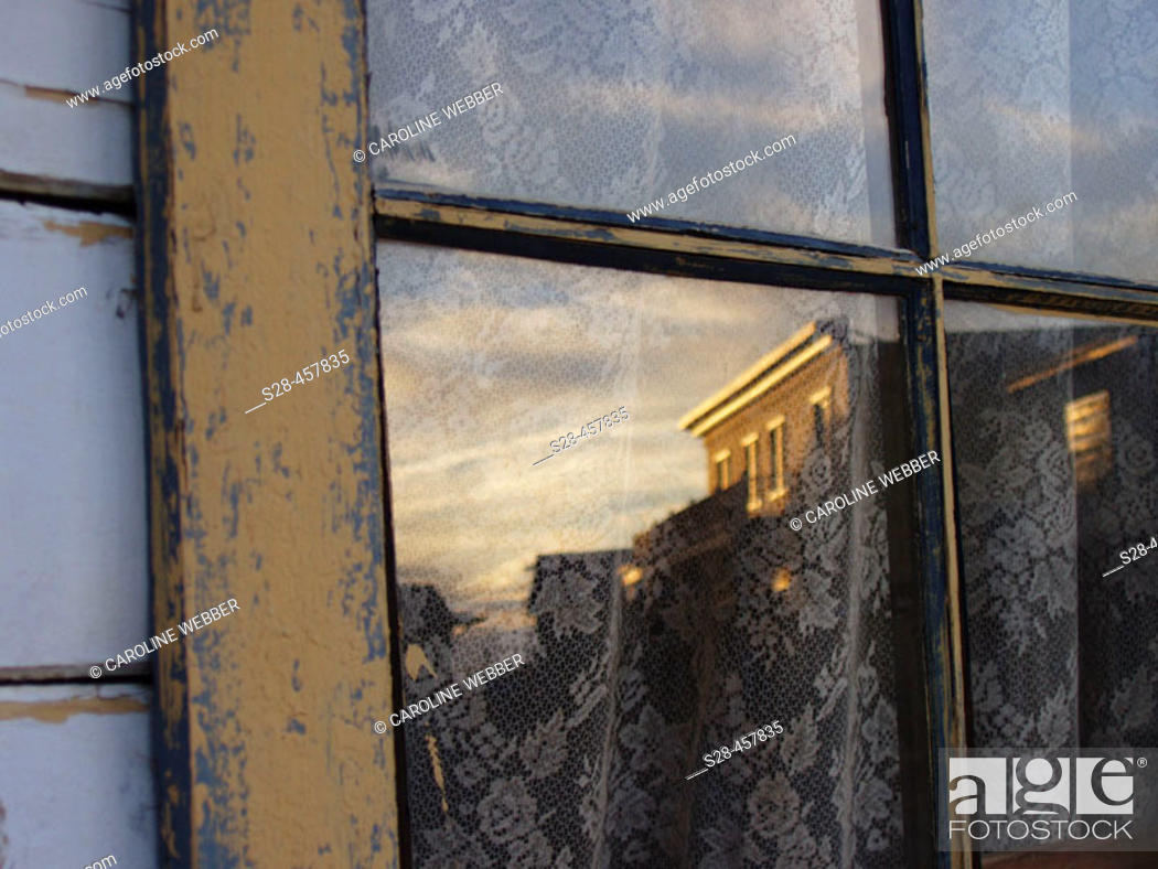 Stock Photo: Window reflection of ghost town, Eaves Movie Ranch, Santa Fe, New Mexico, southwest USA.