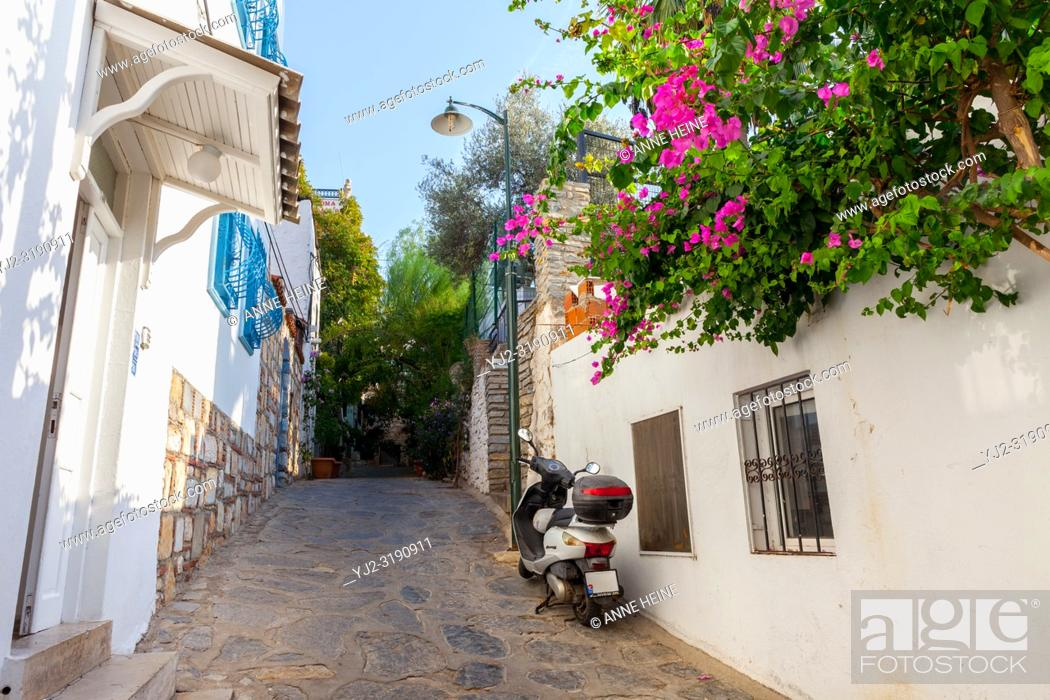 Stock Photo: Narrow alley not for cars, in residential area in Bodrum, Turkey.