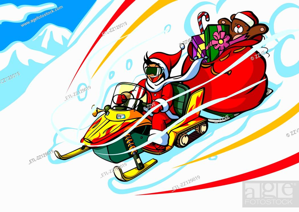 Stock Photo: Man in a Santa costume riding a snowmobile with a gift bag.