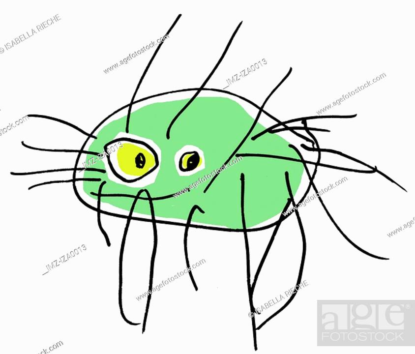 Stock Photo: A childlike drawing of a crab.