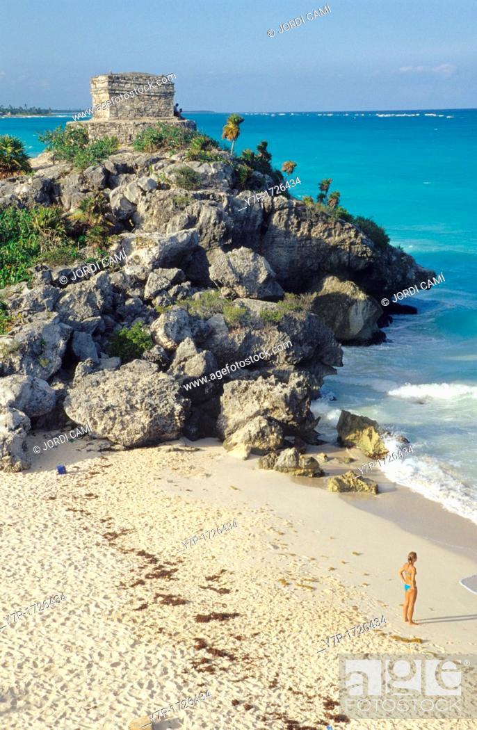 Stock Photo: Woman tourist on Tulum beach  Mexico Yucatan, Mexico.