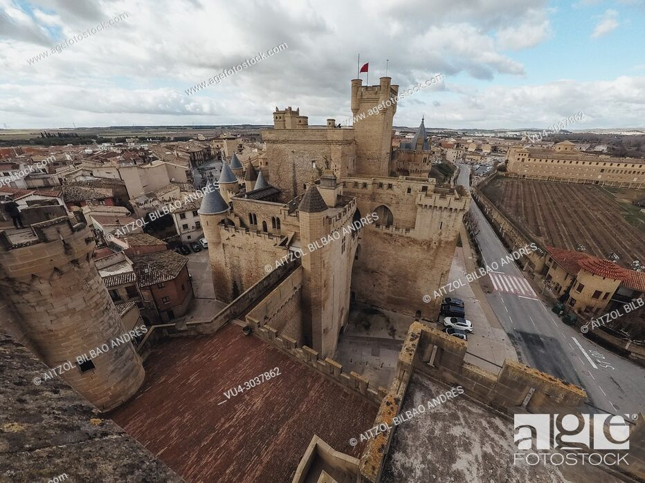 Stock Photo: Olite medieval castle, in Navarre, Spain. This medieval building is amazing, you can visit it all the year. Near there is a small desert called Bardenas.