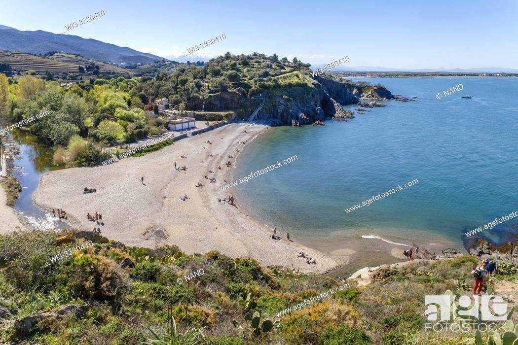Stock Photo: France, Pyrenees Orientales, Cote Vermeille, Argeles sur Mer, Ouille beach and littoral path.