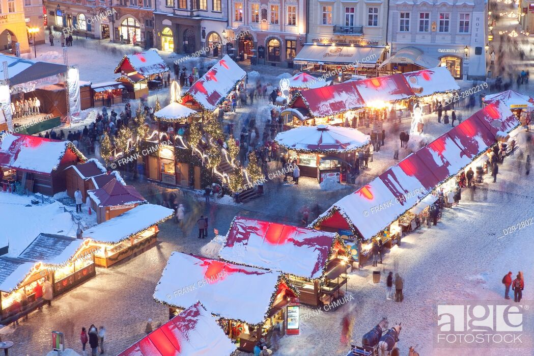 Stock Photo: czech republic, prague - christmas market at the old town square.