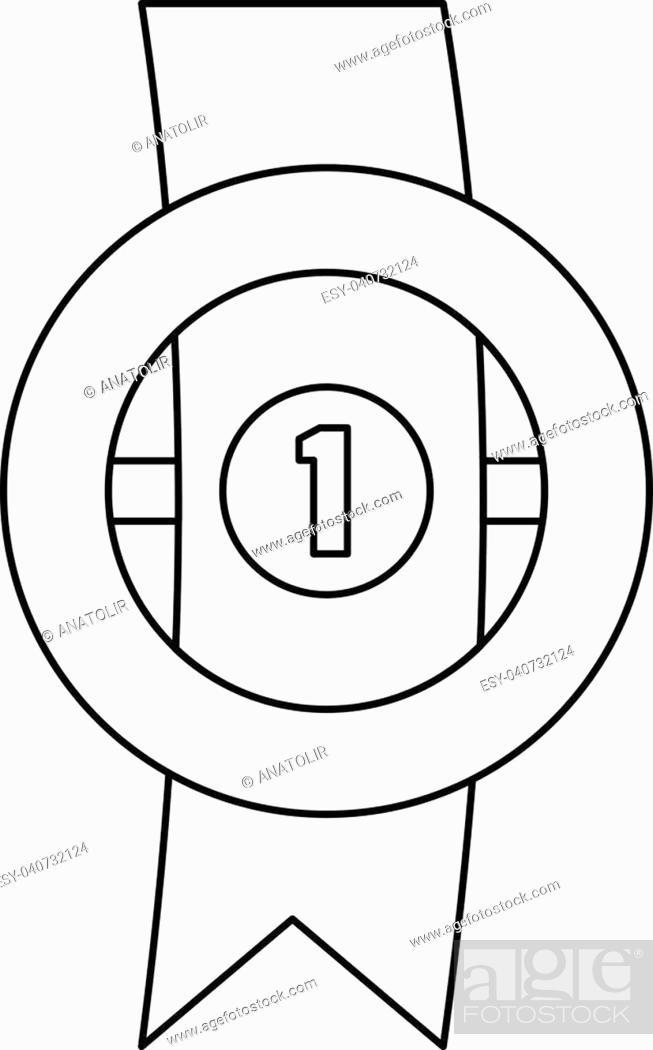 Stock Vector: Award ribbon icon. Thin line illustration of award ribbon vector icon for any web design.