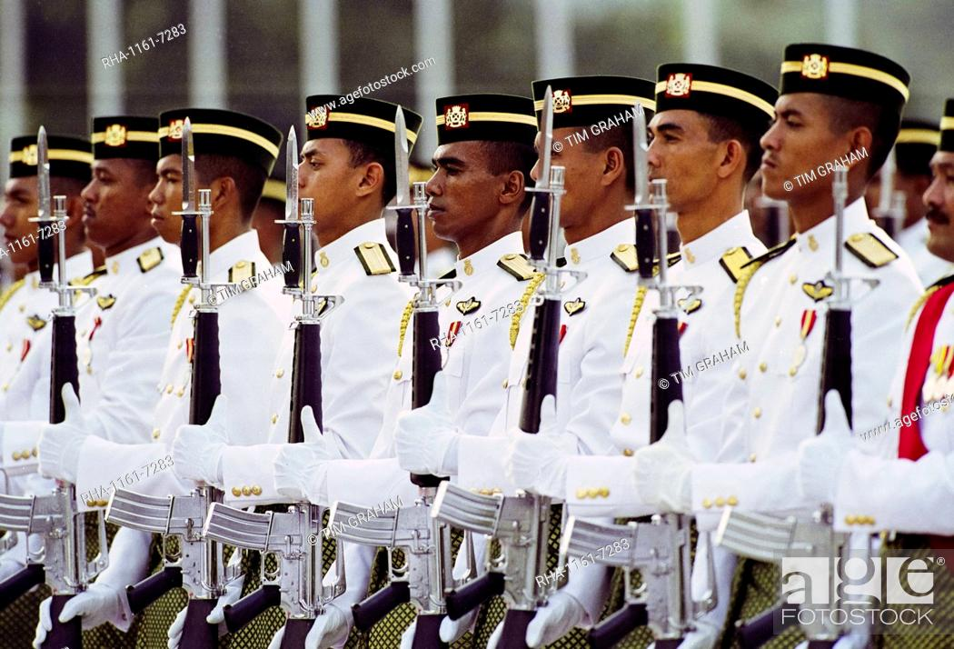Stock Photo: Ceremonial guard at military display at the Sultan's Palace in Brunei Darussalam.