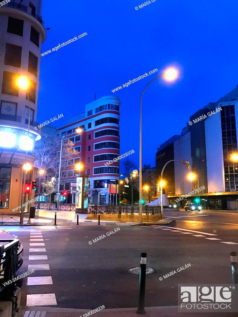 Stock Photo: Goya street, night view. Madrid, Spain.