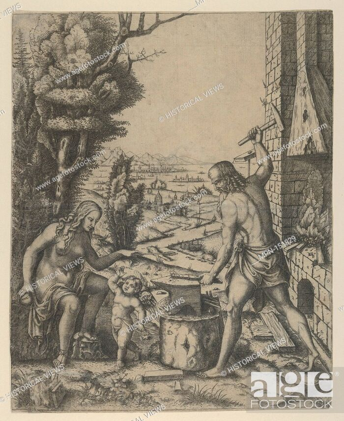 Stock Photo: Venus at left holding a golden apple in her right hand and an arrow in her left, Vulcan at his forge beating a piece of iron on an anvil.