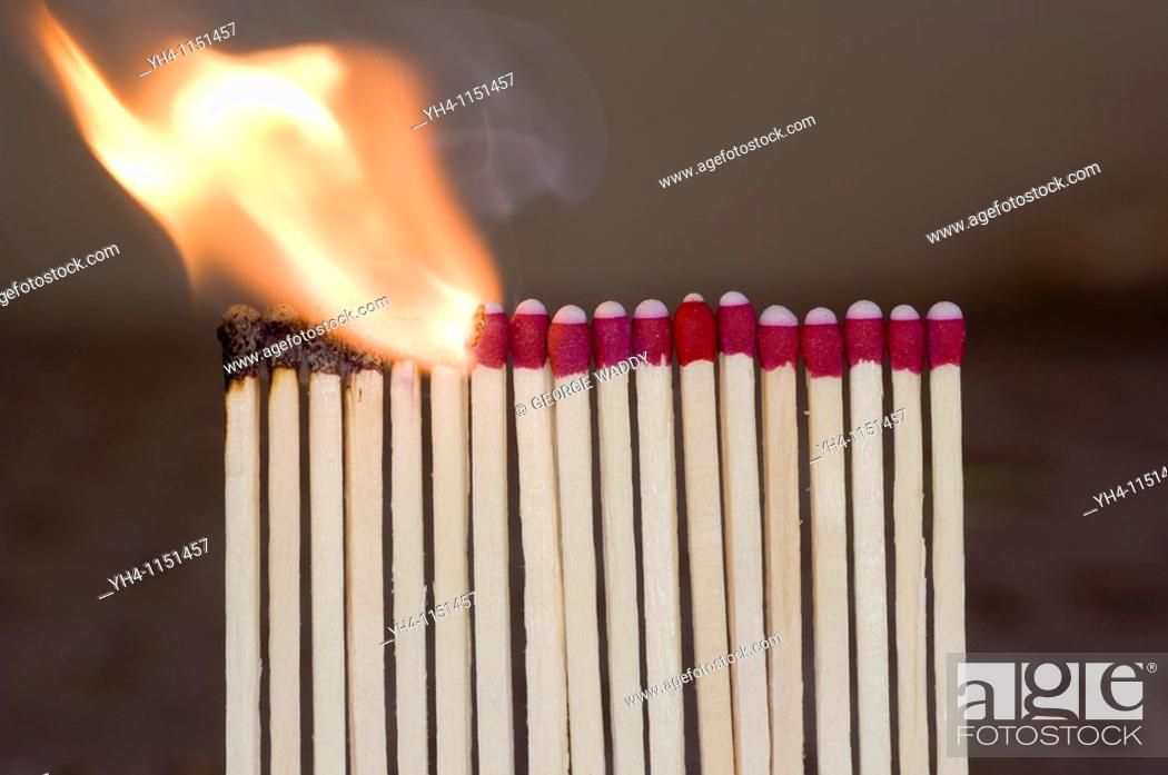 Stock Photo: Burning matches, chain reaction.