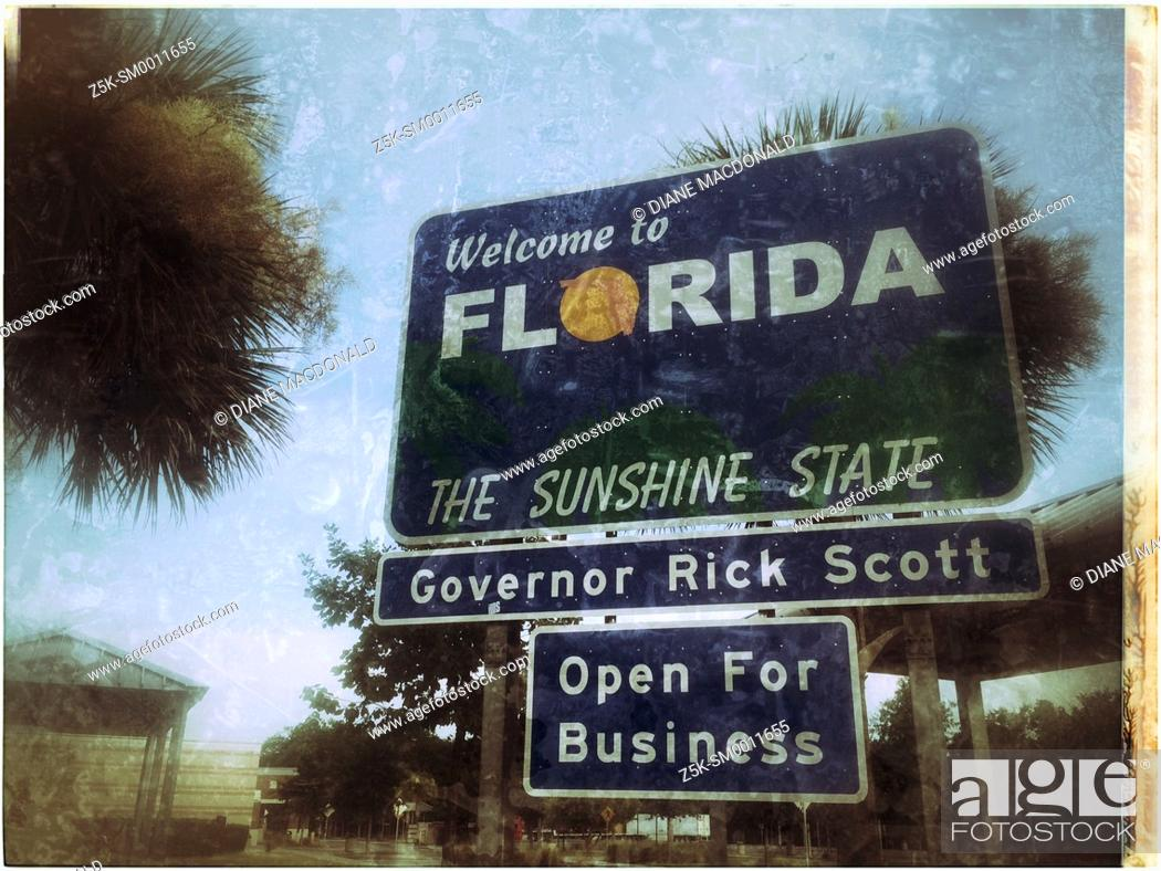 Stock Photo: Welcome to Florida The Sunshine State sign at the Florida/Georgia border.