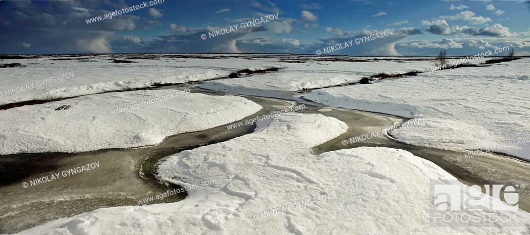 Stock Photo: Siberia. Snowy winter. Natural pattern of snow.