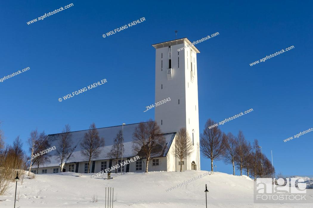 Stock Photo: View of the church in Bjerkvik, near Narvik in northern Norway.