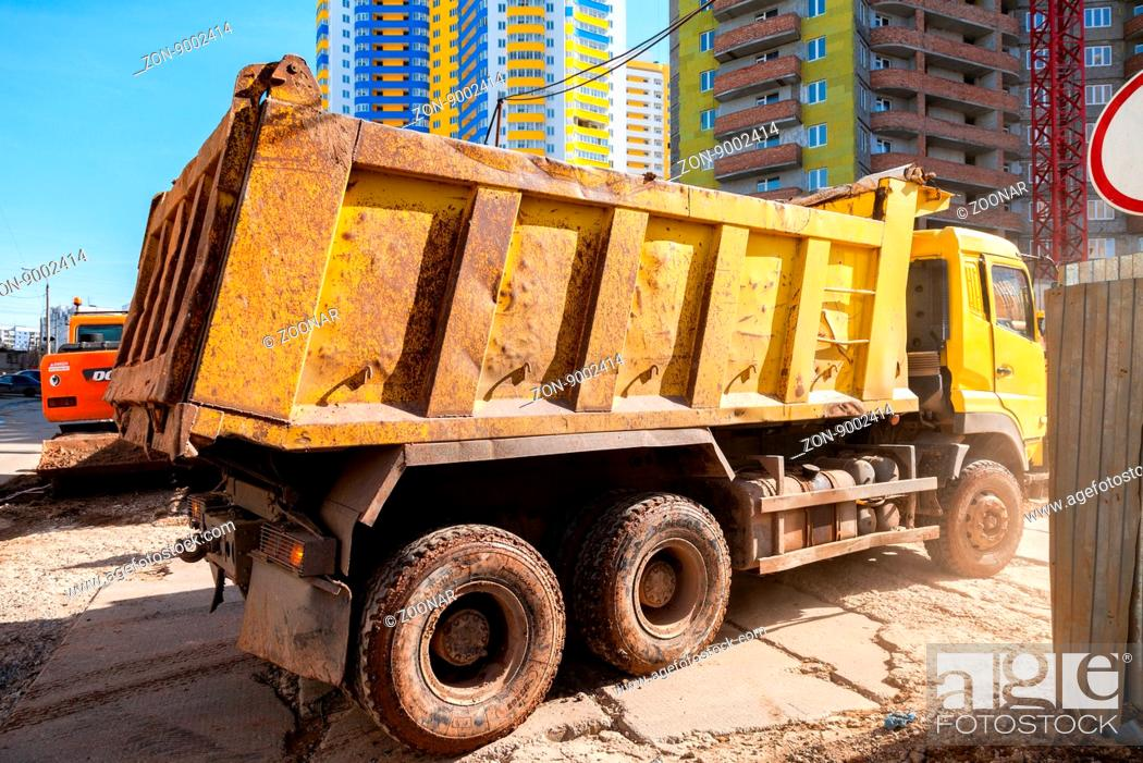 Stock Photo: SAMARA, RUSSIA - APRIL 10, 2016: Heavy truck drives to the construction site.