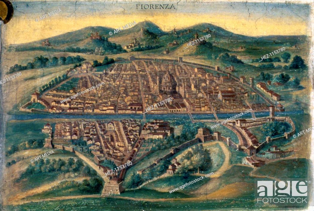Map Of Florence 15th Century Pictorial Italian Map Showing The