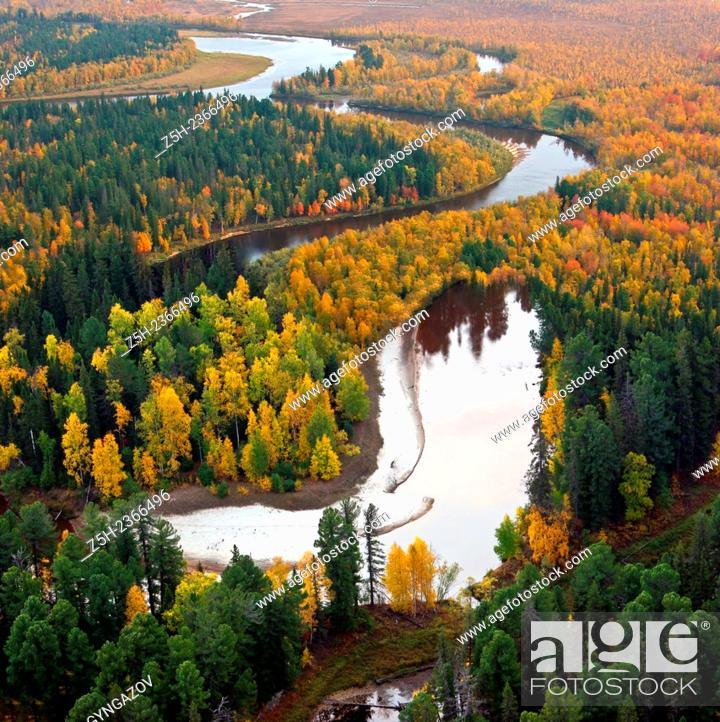 Stock Photo: Autumn in Siberia. Top view.