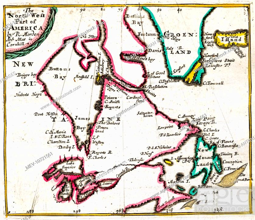 17th century Map of North West America showing Hudson Bay