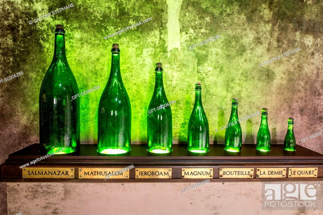 BOTTLE SIZES, MAISON G H  MUMM, CHAMPAGNE MAKERS, REIMS, MARNE
