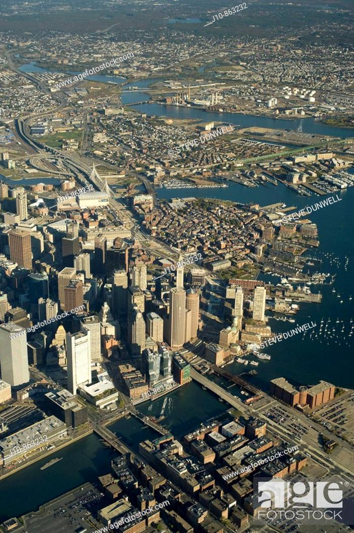 Stock Photo: Downtown aerial view, 3500', Fort Point Channel at bottom, looking north over Charlestown, Boston, Massachusetts, USA.