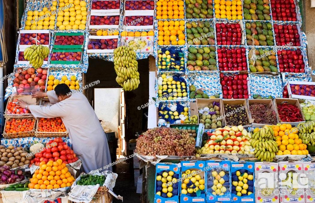 Stock Photo: Egypt, the Nile Valley, Aswan, a grocer shop in the souk.