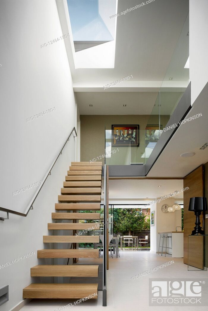 Stock Photo: Open plan staircase in private House, Worsley, Salford, Greater Manchester, England, UK.