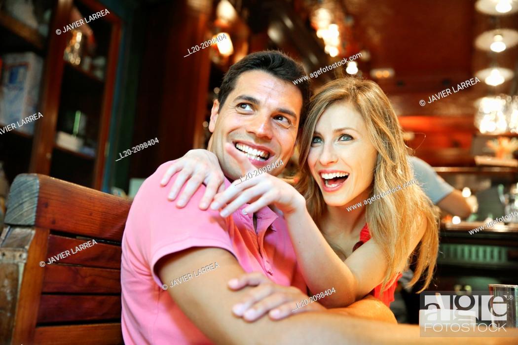 Stock Photo: Couple in a coffee bar. San Sebastian. Donostia. Gipuzkoa. Basque Country. Spain.