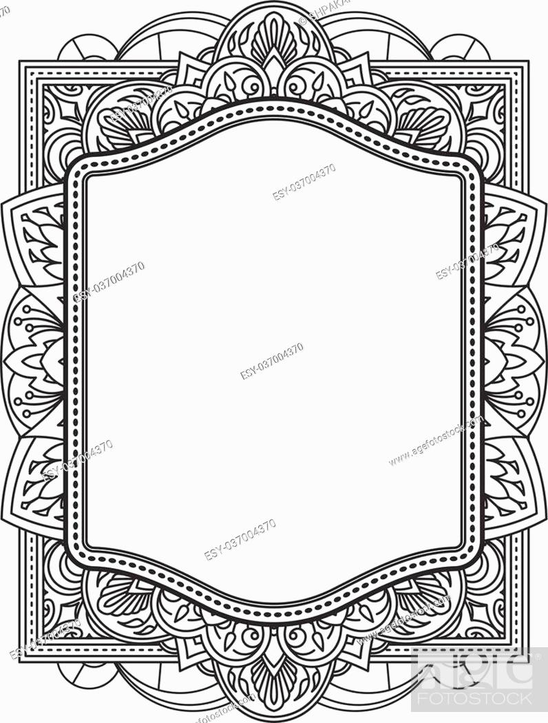 Ethnic template for design wedding invitations and greeting cards stock vector ethnic template for design wedding invitations and greeting cards henna flowers mehndi elements of vintage patterns indian or asian motif stopboris Images