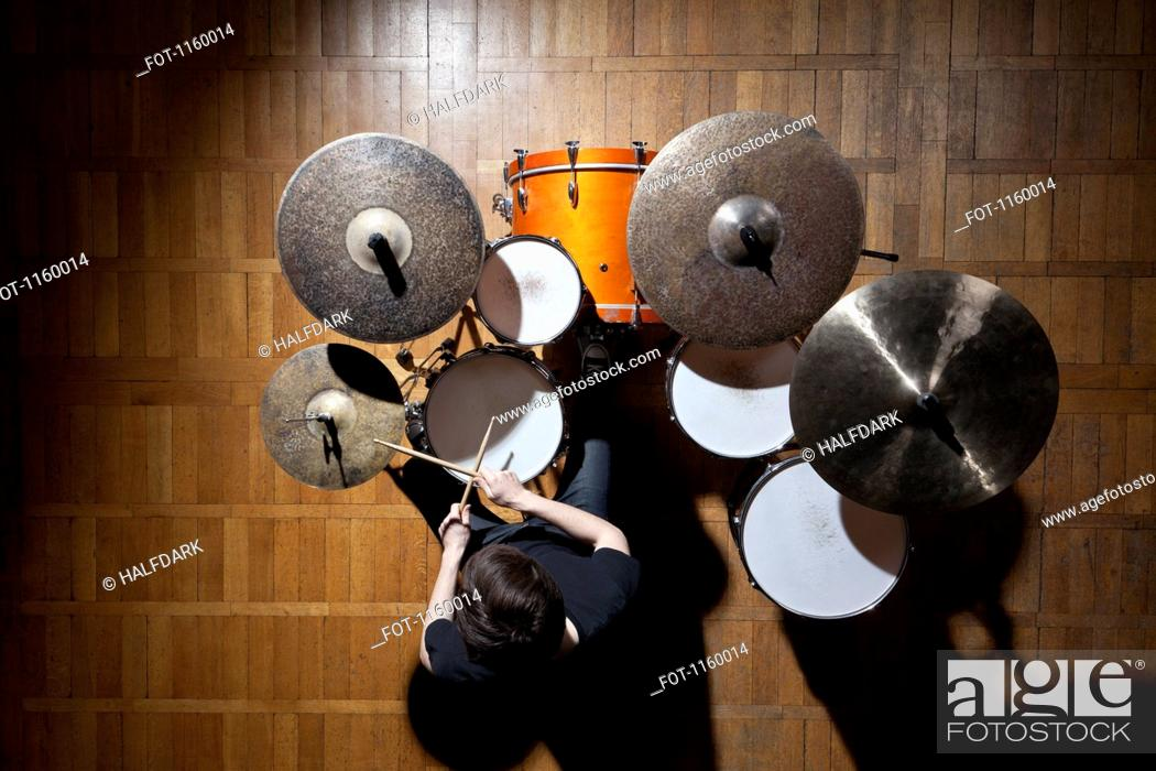 Stock Photo: Drummer performing.