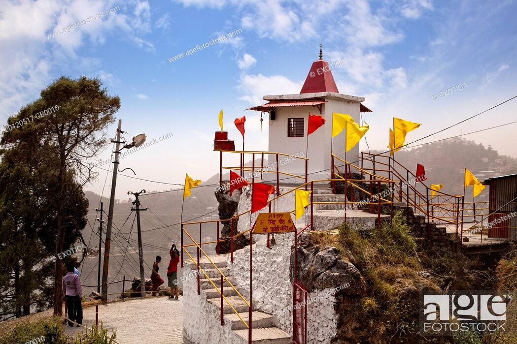 Stock Photo: Parvati Temple on top of a hill, Gun Hill, Mussoorie, Uttarakhand, India.