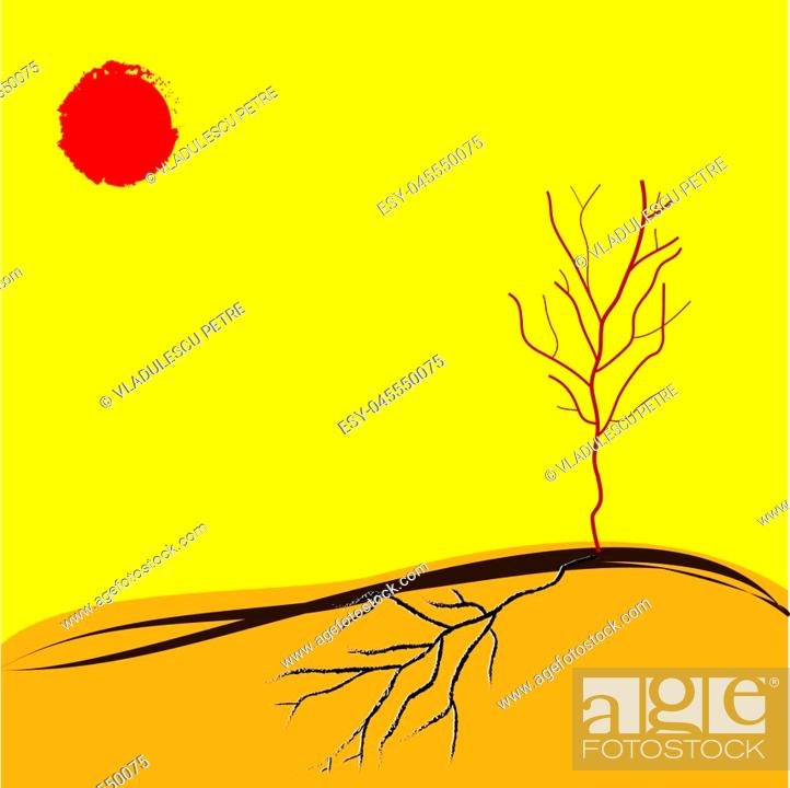 Stock Vector: tree in a drought summer.
