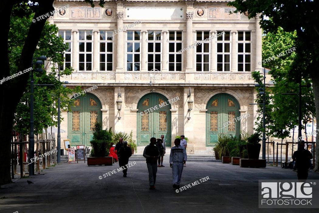 Stock Photo: The Allee Paul Riquet Beziers, France ends at the Municipal theater.