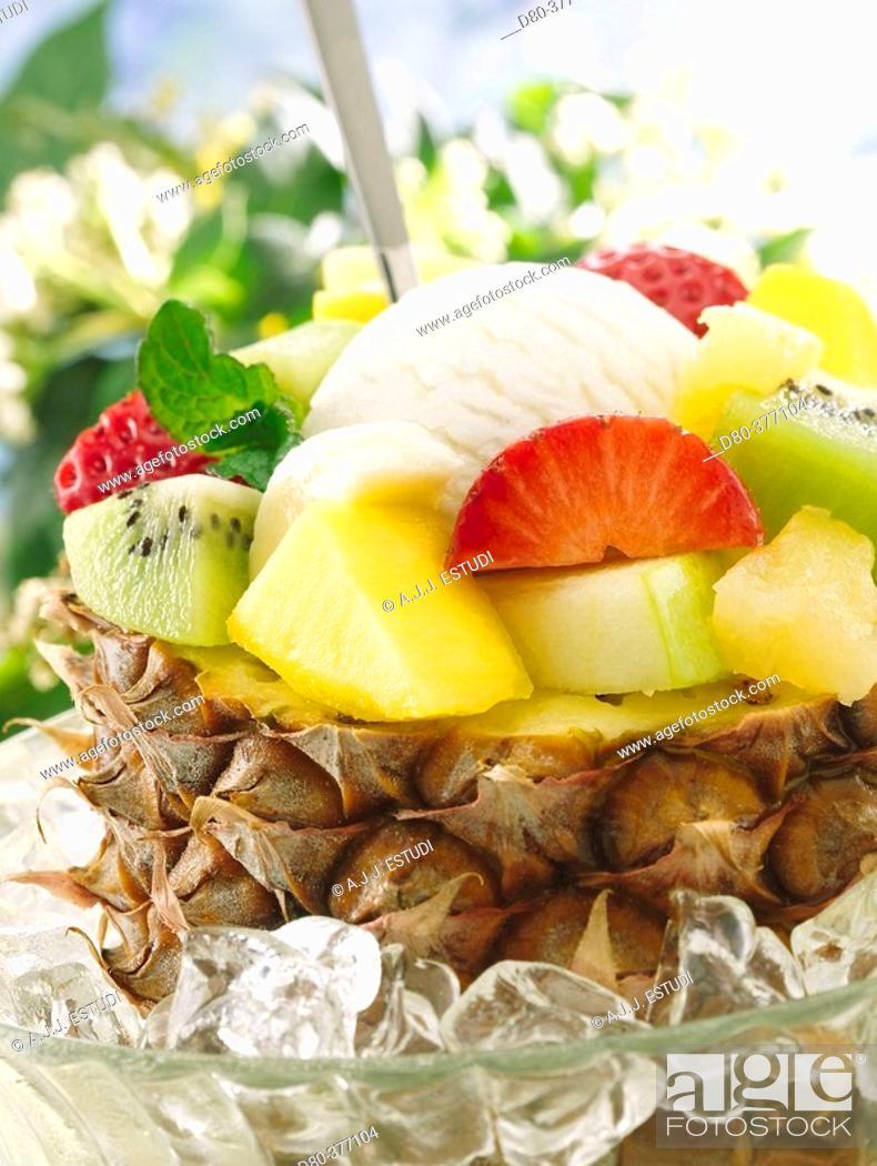 Stock Photo: Pineapple fruit salad.
