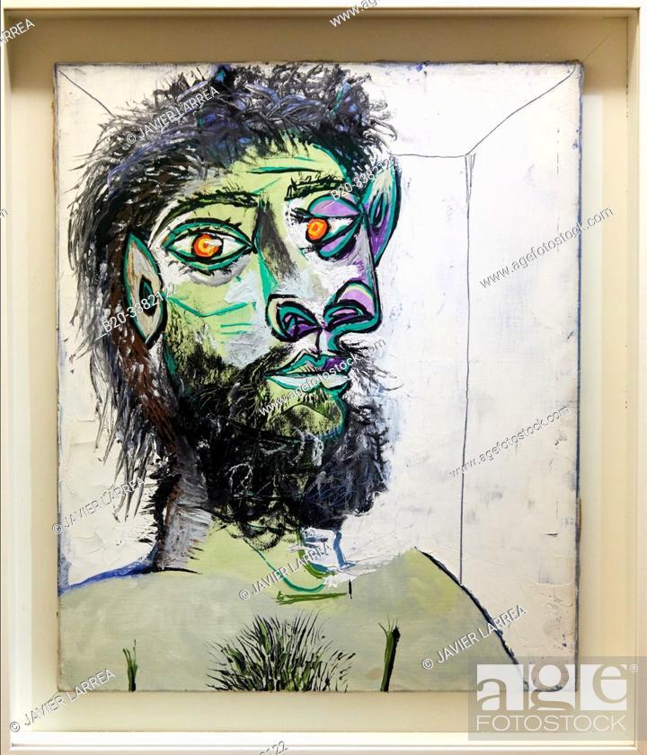 """Stock Photo: """"Tête d'homme barbu"""", 1938, Pablo Picasso, Picasso Museum, Paris, France, Europe."""