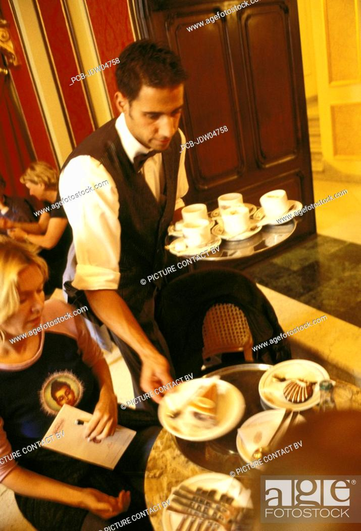 Budapest Waiter Serves Cakes At Famous Patisserie Gerbeaud Cukraszda Stock Photo Picture And Rights Managed Image Pic Pcb Jdw04758 Agefotostock